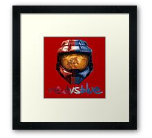 Red vs Blue Helmet with Logo Framed Print