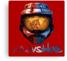 Red vs Blue Helmet with Logo Canvas Print