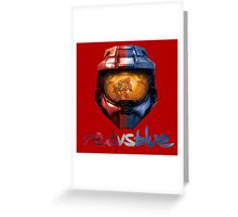 Red vs Blue Helmet with Logo Greeting Card