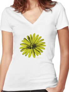 Daisy Bee Yellow Women's Fitted V-Neck T-Shirt