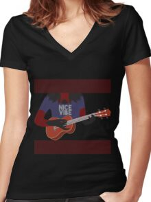 Hollow Strings  Women's Fitted V-Neck T-Shirt