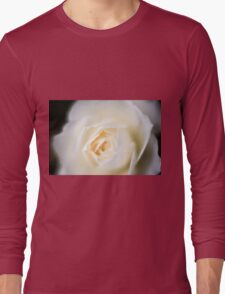 selective focus close up of a white rose flower Long Sleeve T-Shirt