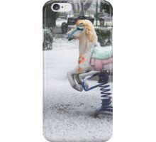 Playground in a Park During Heavy Snowfall In Winter In Bucharest, Romania iPhone Case/Skin