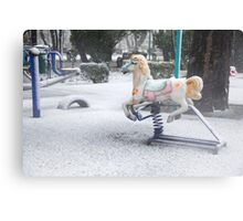 Playground in a Park During Heavy Snowfall In Winter In Bucharest, Romania Metal Print