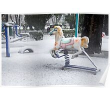 Playground in a Park During Heavy Snowfall In Winter In Bucharest, Romania Poster