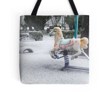 Playground in a Park During Heavy Snowfall In Winter In Bucharest, Romania Tote Bag