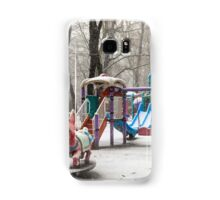 Park During Heavy Snowfall In Winter In Bucharest, Romania Samsung Galaxy Case/Skin
