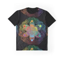 Black Background with 6 Color Design Graphic T-Shirt