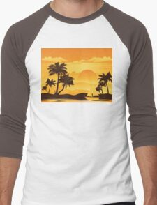 Palm Tree at Sunset 2 Men's Baseball ¾ T-Shirt