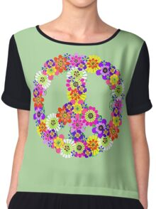 Peace Sign Floral Chiffon Top