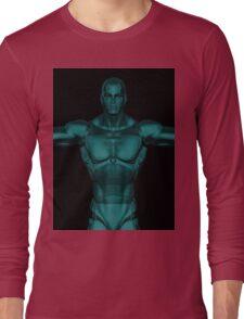 Metallic Aqua Blue Super Hero Robot  Long Sleeve T-Shirt