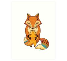 Mom and Baby Fox together Art Print