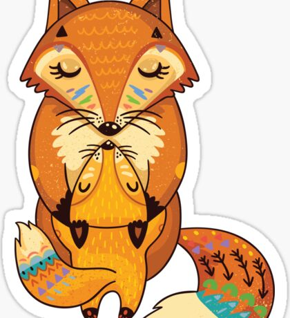 Mom and Baby Fox together Sticker