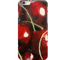Cherries Kitchen Decor Fruit Red Acrylic Contemporary Painting iPhone Case/Skin