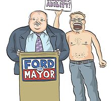 Rob Ford's Shirtless Protester by MacKaycartoons