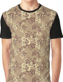 Brown Flower Pattern Graphic T-Shirt