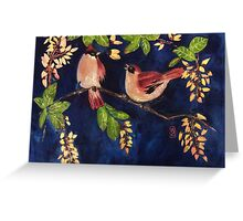 Chubby birds in the moonlight Greeting Card