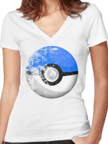 Destroyed Pokemon Go Team Blue Pokeball Women's Fitted V-Neck T-Shirt