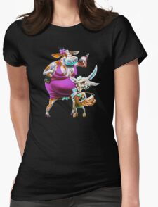 Silly Fat Cow and a Two-faced B***h Womens Fitted T-Shirt