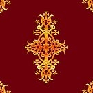 Ethiopian Cross 3. Red and Gold by Ethiohahu