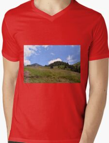 Natural scenery with mountain view and cloudy sky. Mens V-Neck T-Shirt