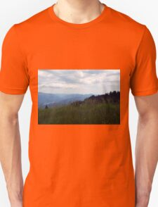 Natural scenery with mountain view and cloudy sky. Unisex T-Shirt