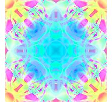 Abstract psychedelic pattern yellow pink blue Photographic Print
