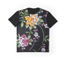 Flower Embroidary  on Vintage  Kimono  Graphic T-Shirt