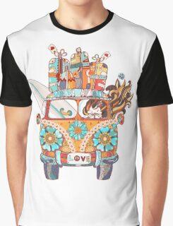 Hand drawn doodle outline retro bus Graphic T-Shirt