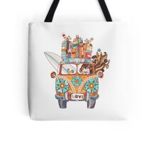 Hand drawn doodle outline retro bus Tote Bag