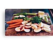 Fresh beet and carrots on wooden background Canvas Print