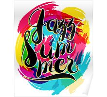 Hashtag Jazz Summer on Spot Background, yellow and blue Poster