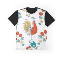 Rooster and flowers in Russian style Graphic T-Shirt
