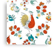 Rooster and flowers in Russian style Canvas Print