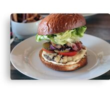 Grass Fed Bison Hamburger with Lettuce and Cheese Canvas Print