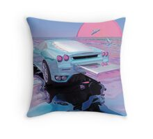 Tuning, Dolphins, Chill and Vaporwave Throw Pillow