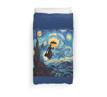 The Flying Lady with an Umbrella Oil Painting Duvet Cover