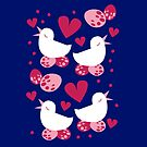bird in love and egg in nest pattern by jazzydevil
