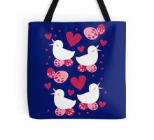 bird in love and egg in nest pattern Tote Bag