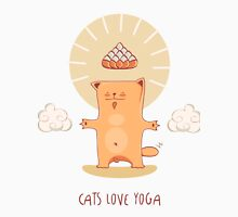 Cat Loves Yoga. Red -bodhisattva Unisex T-Shirt