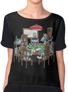 Robot Dogs Playing Poker Chiffon Top