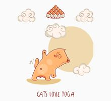Red Yoga Cat in triangle pose Unisex T-Shirt