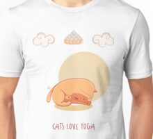 Red Yoga Cat in Head To Knee Forward Bend Unisex T-Shirt