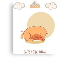 Red Yoga Cat in Head To Knee Forward Bend Canvas Print