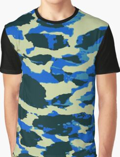 Abstract Army Pattern in Black Blue Graphic T-Shirt