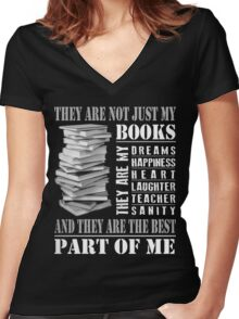 MY BOOKS Women's Fitted V-Neck T-Shirt