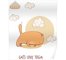 Red Yoga Cat in Four Limbed Staff Pose Poster