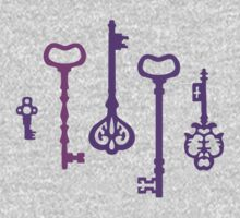 Violet Secret Keys Pattern One Piece - Short Sleeve
