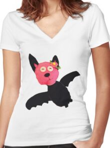 Fum The Curious Bat Women's Fitted V-Neck T-Shirt