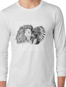 Native American and a Lion Long Sleeve T-Shirt